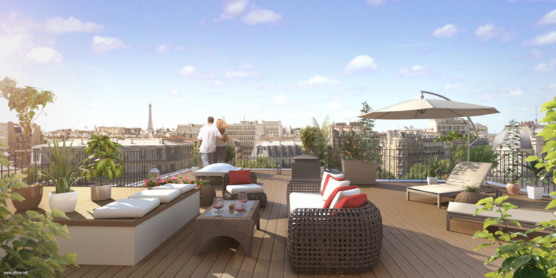 un appartement avec terrasse la perle rare paris. Black Bedroom Furniture Sets. Home Design Ideas